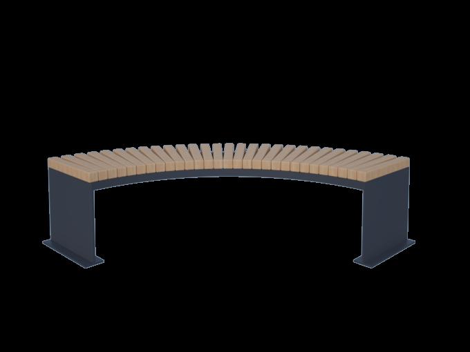 Скамейка длинная полукруглая для парка картинка